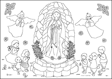 子ども向けぬりえ「ルルドのマリア様」A4横